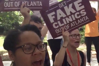 Reproaction and other abortion activists protest pro-life pregnancy centers in Atlanta