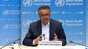 WHO Director-General Dr. Tedros Adhanom Ghebreyesus addresses the WHO COVID-19 press conference June 19, 2020