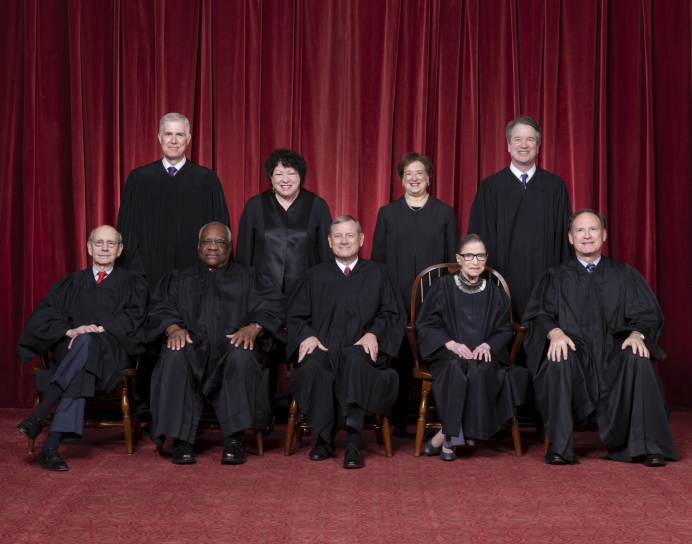 Front row, left to right: Associate Justice Stephen G. Breyer, Associate Justice Clarence Thomas, Chief Justice John G. Roberts, Jr., Associate Justice Ruth Bader Ginsburg, Associate Justice Samuel A. Alito. Back row: Associate Justice Neil M. Gorsuch, Associate Justice Sonia Sotomayor, Associate Justice Elena Kagan, Associate Justice Brett M. Kavanaugh.