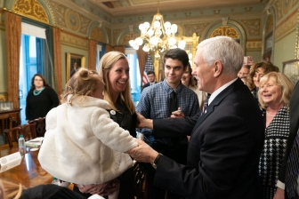 Elisa and her 1-year-old daughter Lissy talk with Vice President Mike Pence ahead of the March for Life.