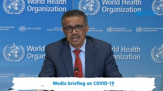 WHO Director-General Dr. Tedros Adhanom Ghebreyesus gives the organization's April 6 daily COVID-19 briefing