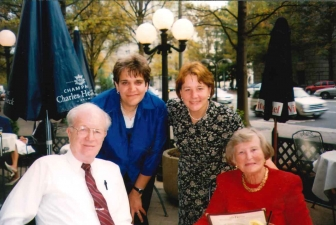 Dr. John C. Wilke and Barbara Wilke with long-time pregnancy center director Mary Hamm (center left) and Peggy Hartshorn (center right) in Washington, D.C. in 2006.